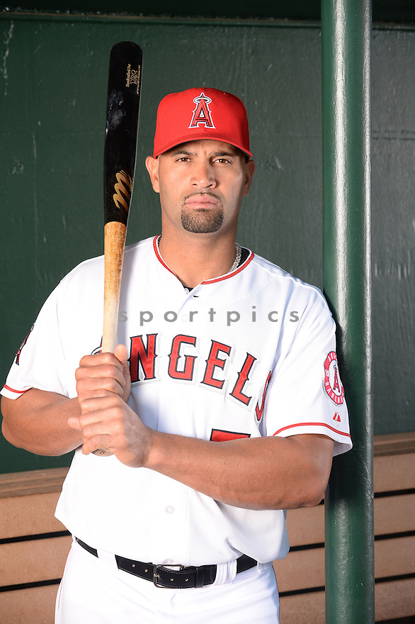 Los Angeles Angels Albert Pujols (5) at media photo day during spring training on February 26, 2014 in Tempe, AZ