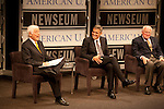 "Journalist Nick Clooney and his son the actor George Clooney share a light moment with fellow guest Bill Small (at right) on stage at the Newseum in Washinton, D.C. during the production of a segment of ""reel journalism"" discussion of the film ""Good Night and Good Luck"" in 2012"