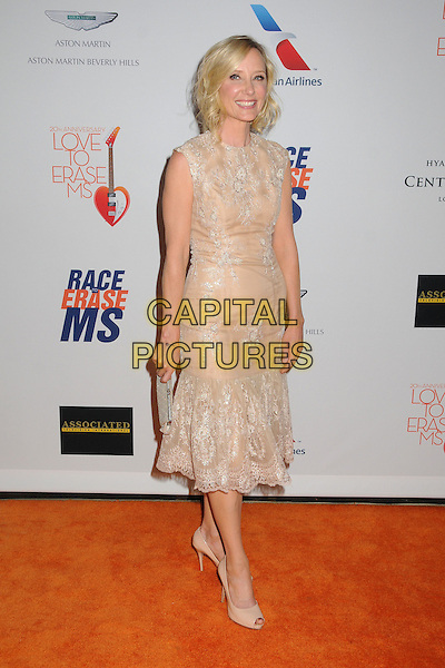 Anne Heche.20th Annual Race To Erase MS Gala held at the Hyatt Regency Century Plaza Hotel, Century City, California, USA, 3rd May 2013..full length peach nude lace dress cream clutch bag sleeveless shoes peep toe .CAP/ADM/BP.©Byron Purvis/AdMedia/Capital Pictures