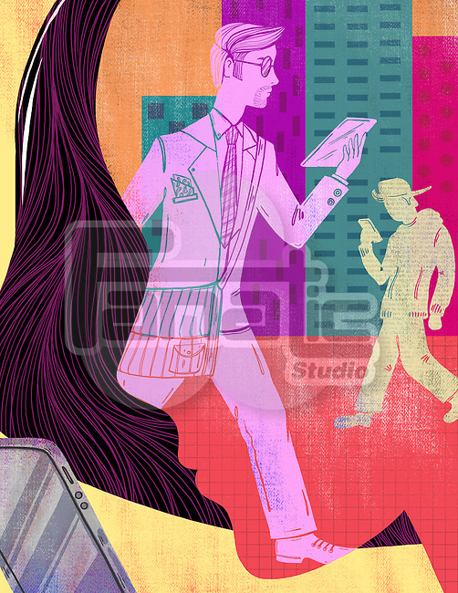 Illustrative image of men and woman using technologies representing social networking