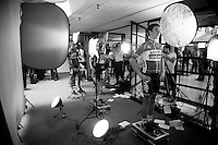 Sean De Bie (BEL/Lotto-Soudal) getting 'videographed' before his first Grand Tour at the Grande Partenza in Apeldoorn (NLD): team presentation of the 99th Giro d'Italia 2016 on the evening before the 1st stage