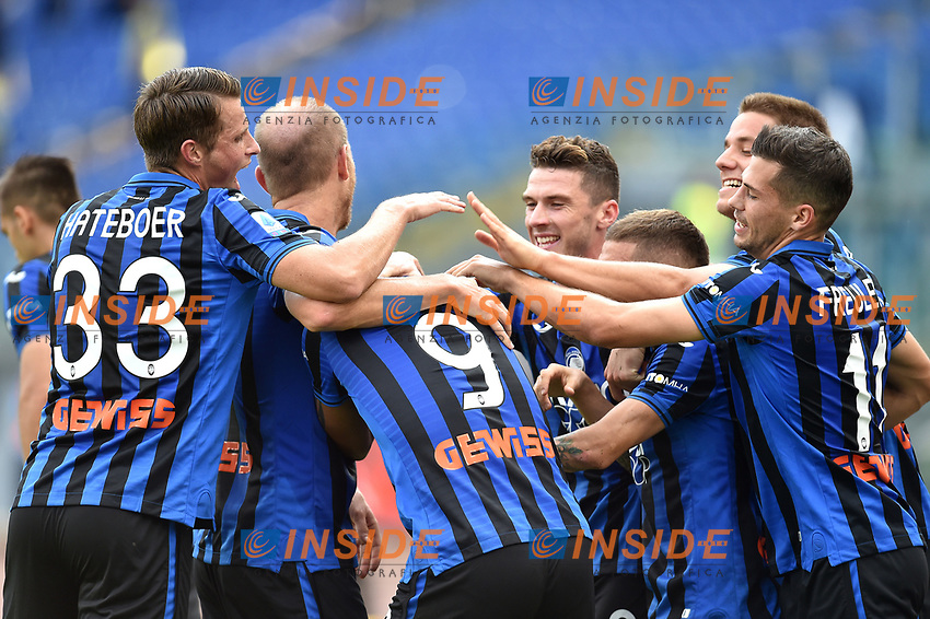 Luis Muriel of Atalanta BC (C) celebrates with team mates after scoring the goal of 0-2  <br /> Roma 19-10-2019 Stadio Olimpico <br /> Football Serie A 2019/2020 <br /> SS Lazio - Atalanta<br /> Foto Andrea Staccioli / Insidefoto