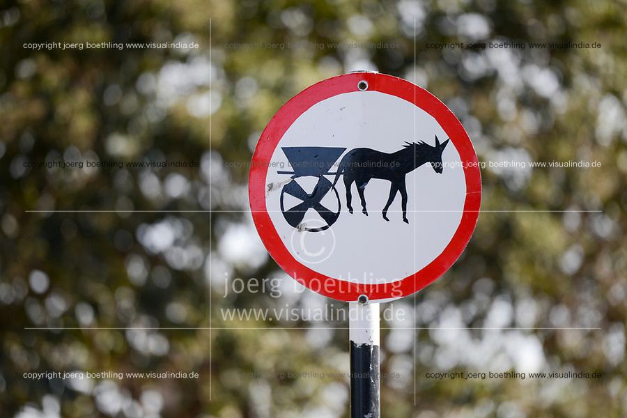 ETHIOPIA, Amhara, Gondar, traffic sign No entry for donkey and horse wagon / AETHIOPIEN, Amhara, Gonder, Verkehrsschild Kein Eintritt fuer Eselskarren