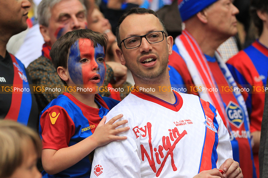 Crystal Palace father and son look on during the game during Crystal Palace vs Manchester United, Emirates FA Cup Final Football at Wembley Stadium on 21st May 2016