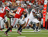 Virginia Tech Hokies running back Marshawn Williams (42) scores a touchdown run against Ohio State Buckeyes during the 1st quarter of their game in Ohio Stadium on September 6, 2014.  (Dispatch photo by Kyle Robertson)