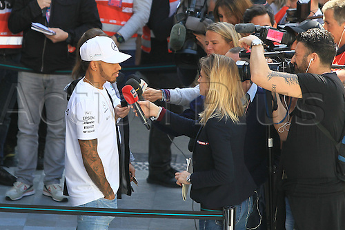 March 7th 2017, Circuit de Barcelona-Catalunya, Barcelona, Spain, Formual 1 winter testing session 2 day 1;  Lewis Hamilton talks with the media