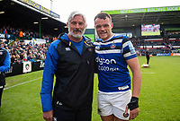 Todd Blackadder and Zach Mercer of Bath Rugby pose for a photo after the match. Gallagher Premiership match, between Leicester Tigers and Bath Rugby on May 18, 2019 at Welford Road in Leicester, England. Photo by: Patrick Khachfe / Onside Images