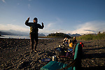 Alaska, Prince William Sound, Sea Kayakers camping, Elliot Marks, Dancing for good weather, Heather Island, Columbia Bay,
