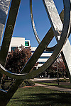 November 05, 2009. Cary, North Carolina.. SAS, the largest private software company, makes a product called business intelligence or business optimization software, that looks for usable nuggets of information and insights in vast quantities of data. As the market for these types of products grows, SAS faces competition from some of the giants in the industry, such as Microsoft and IBM. The company differs from most in that it also provides many services for its employees, such as primary care doctors, daycare and a gym.  . Workers in the Research and Development building make their way to work past one of the many pieces of sculpture scattered about the 200 acre campus.