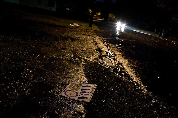 November 4, 2008. Durham, NC.. An election sign lay in the beating rain that covered much of the state of North Carolina as the polls opened.