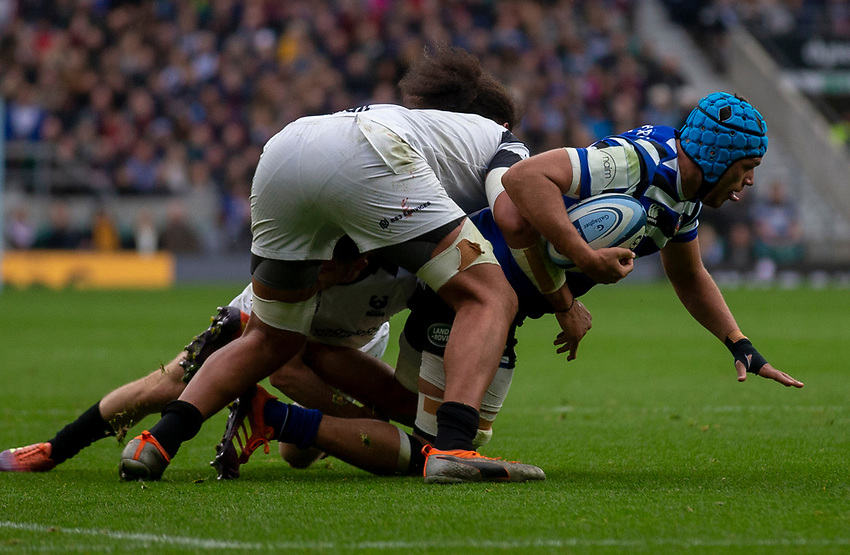 Bath Rugby's Zach Mercer in action during todays match<br /> <br /> Photographer Bob Bradford/CameraSport<br /> <br /> Gallagher Premiership - Bath Rugby v Bristol Bears - Saturday 6th April 2019 - The Recreation Ground - Bath<br /> <br /> World Copyright © 2019 CameraSport. All rights reserved. 43 Linden Ave. Countesthorpe. Leicester. England. LE8 5PG - Tel: +44 (0) 116 277 4147 - admin@camerasport.com - www.camerasport.com