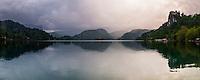 Sunset showing Lake Bled Castle and Lake Bled Island, Julian Alps, Gorenjska, Upper Carniola Region, Slovenia, Europe