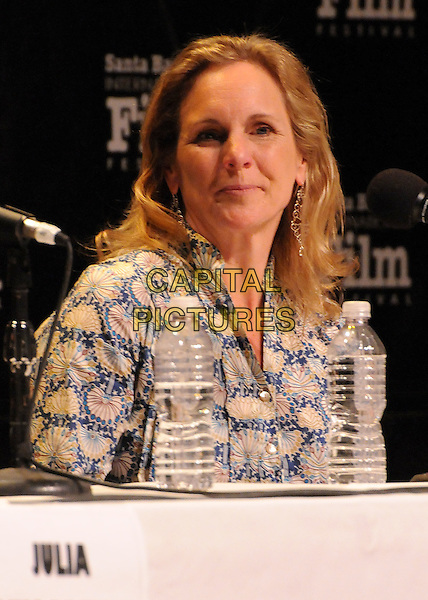 "Melissa Cobb.27th Annual Santa Barbara Film Festival: ""Creative Forces: Women in The Biz"" Panel held at the Lobero Theatre, Santa Barbara, California, USA, .28th January 2012..half length microphone sitting conference print shirt .CAP/ADM/BP.©Byron Purvis/AdMedia/Capital Pictures."