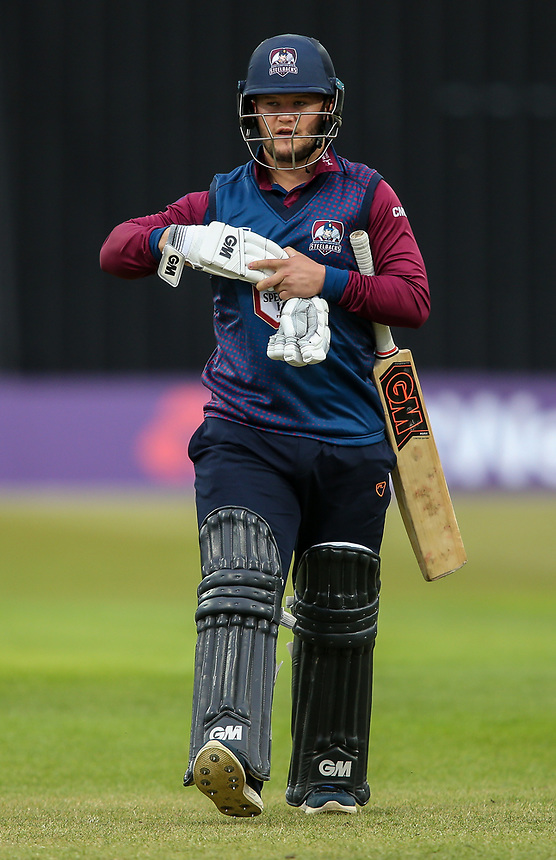Northamptonshire's Ben Duckett walks off after being dismissed by Leicestershire's Callum Parkinson<br /> <br /> Photographer Andrew Kearns/CameraSport<br /> <br /> NatWest T20 Blast - Leicestershire Foxes vs Northamptonshire Steelbacks - Friday 21st July 2017 - Grace Road Leicester <br /> <br /> World Copyright &copy; 2017 CameraSport. All rights reserved. 43 Linden Ave. Countesthorpe. Leicester. England. LE8 5PG - Tel: +44 (0) 116 277 4147 - admin@camerasport.com - www.camerasport.com