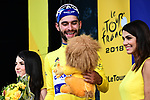 Fernando Gaviria (COL) Quick-Step Floors wins Stage 1 and takes the first leaders Yellow Jersey of the 2018 Tour de France running 201km from Noirmoutier-en-l&rsquo;&Icirc;le to Fontenay-le-Comte, France. 7th July 2018. <br /> Picture: ASO/Alex Broadway | Cyclefile<br /> All photos usage must carry mandatory copyright credit (&copy; Cyclefile | ASO/Alex Broadway)
