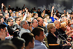 "Sept. 19, 2012 - Hempstead, New York, U.S. - Audience members raising hands to ask questions to Former Florida Governor JEB BUSH, speaking at Hofstra University about ?America's Promise in Uncertain Times.? This lecture is part of 'Debate 2012 Pride Politics and Policy"" a series of events leading up to when Hofstra hosts the 2nd Presidential Debate between Pres. Barack Obama and Mitt Romney, on October 16, 2012, in a Town Meeting format."