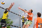09.05.2015, Muenster, Schlossplatz<br /> smart beach tour, Supercup MŸnster / Muenster, Hauptfeld<br /> <br /> Block Armin Dollinger - Angriff Marcus Popp <br /> <br />   Foto &copy; nordphoto / Kurth
