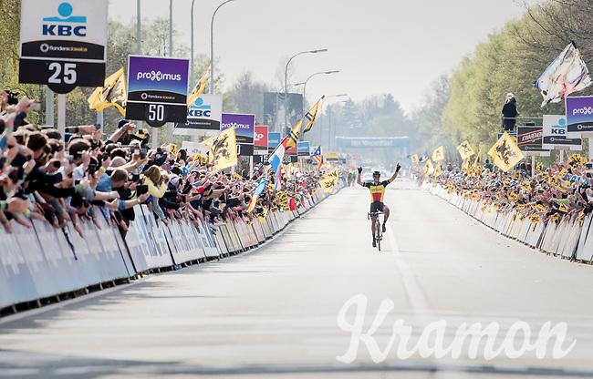 Philippe Gilbert (BEL/Quick Step floors) solo's towards victory in the 101th Ronde Van Vlaanderen 2017 (1.UWT)<br /> <br /> 1day race: Antwerp &rsaquo; Oudenaarde - BEL (260km)