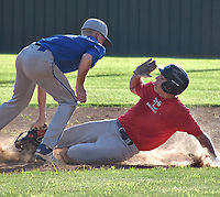RICK PECK/SPECIAL TO MCDONALD COUNTY PRESS McDonald County's Destyn Dowd beats a throw to second base during a 2-2 tie against Carthage on June 26 at MCHS.
