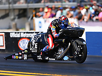 Mar 18, 2017; Gainesville , FL, USA; NHRA pro stock motorcycle rider Cory Reed during qualifying for the Gatornationals at Gainesville Raceway. Mandatory Credit: Mark J. Rebilas-USA TODAY Sports