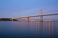Dusk lighting Bay Bridge, San Francisco California