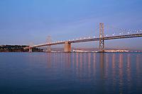 Dusk lighting Bay Bridge, San Francisco California