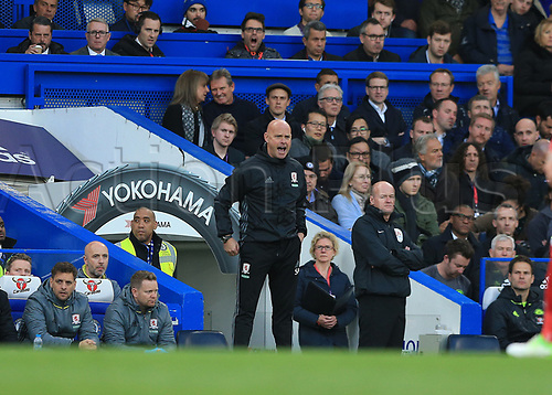 May 8th 2017, Stamford Bridge, Chelsea, London England; EPL Premier League football, Chelsea FC versus Middlesbrough; Middlesbrough Caretaker Manager Steve Agnew shouting instructions from the touchline