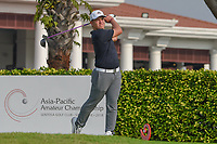 Brentt SALAS (GUM) watches his tee shot on 12 during Rd 2 of the Asia-Pacific Amateur Championship, Sentosa Golf Club, Singapore. 10/5/2018.<br /> Picture: Golffile | Ken Murray<br /> <br /> <br /> All photo usage must carry mandatory copyright credit (© Golffile | Ken Murray)