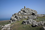 Trig point Skomer Island, Pembrokeshire, Wales