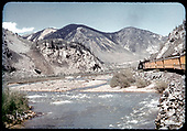 Excursion train approaching Silverton along Animas River<br /> D&amp;RGW  Silverton, CO