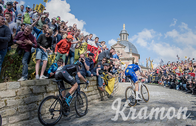 Tom Boonen (BEL/Quick-Step Floors) fires the peloton up the infamous Muur van Geraardsbergen (1100m/7.6%) that is back in the parcours after a 5 year hiatus<br /> <br /> 101th Ronde Van Vlaanderen 2017 (1.UWT)<br /> 1day race: Antwerp &rsaquo; Oudenaarde - BEL (260km)
