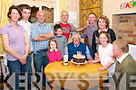 9989: Dan Keane From Moyvane celebrating his 90th birthday with hi Family on Saturdy night.  L- R  Catherine , Padraig, Mike, Brendan, Paudie & Mary Keane..F - Katie, Christopher , Dan & Aisling Keane..