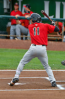 Joel Booker (11) of the Great Falls Voyagers at bat against the Ogden Raptors in Pioneer League action at Lindquist Field on August 17, 2016 in Ogden, Utah. Ogden defeated Great Falls 5-2. (Stephen Smith/Four Seam Images)