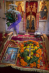 Icon of the Holy Cross enshrined with flowers, Church of the Ascension of Jesus Christ at the Monastery Mileševa, Serbia originally built in the 13th century.