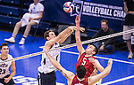 07 MAY 2016: Christy Blough (5) of Ohio State University taps the ball over a Brigham Young University defender during the Division I Men's Volleyball Championship held at Rec Hall on the Penn State University campus in University Park, PA.  Ohio State defeated BYU 3-1 for the national title.  Ben Solomon/NCAA Photos