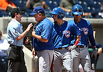Iowa Cubs Manager Marty Pevey argues with the umpire after Albert Almora, center, was called out of the batter's box during a game against the Reno Aces at Greater Nevada Field in Reno, Nev., on Tuesday, May 17, 2016. <br />