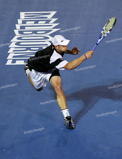 Andy Roddick (USA) in action during the Semi final against Roger Federer (SUI) on day 11 of the Australian Open Tennis , 29-1-09
