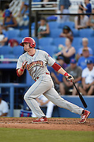 Clearwater Threshers first baseman Zach Green (12) at bat during a game against the Dunedin Blue Jays on April 10, 2015 at Florida Auto Exchange Stadium in Dunedin, Florida.  Clearwater defeated Dunedin 2-0.  (Mike Janes/Four Seam Images)