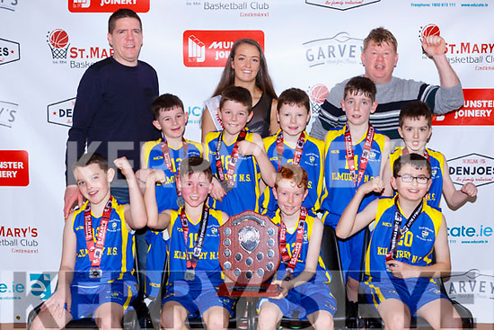 The Kilmurry NS celebrate after defeating Knockaderry  in the Junior NS Boys final front row l-r: Gearoid Collins, Jamie Nolan, Shay O'Connor,  Jamie Murphy, Middle row: Tadhg McCarthy cillian Moroney, Killian Horgan, Mark Keane. Back row: Gerard Murphy Paris McCarthy and george O'Connor coach