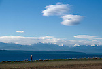 Rainshadow over the Olympic Peninsula, Port Townsend, Puget Sound, from Ebey's Landing National Historical Resereve, Whidbey Island, Washington State, Pacific Northwest, USA,