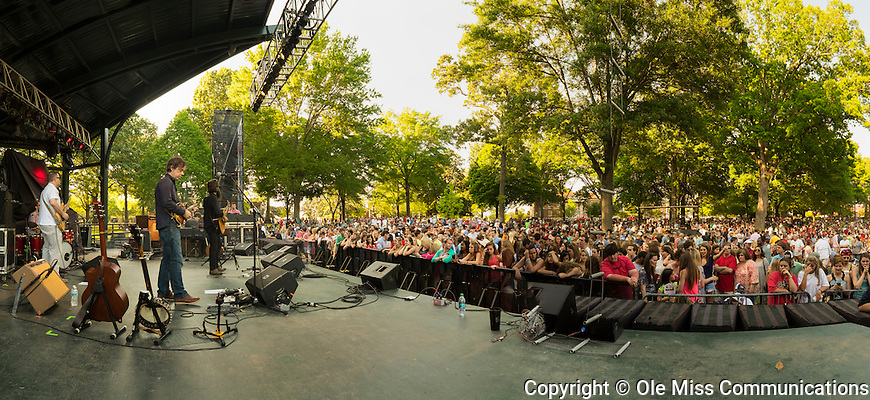 Iron & Wine perform on the Grove stage. Photo by Robert Jordan/Ole Miss Communications