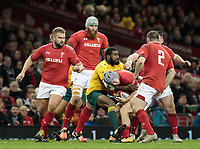 Wales' Jonathan Davies under pressure from Australia's Marika Koroibete<br /> <br /> Photographer Simon King/CameraSport<br /> <br /> International Rugby Union - 2017 Under Armour Series Autumn Internationals - Wales v Australia - Saturday 11th November 2017 - Principality Stadium - Cardiff<br /> <br /> World Copyright &copy; 2017 CameraSport. All rights reserved. 43 Linden Ave. Countesthorpe. Leicester. England. LE8 5PG - Tel: +44 (0) 116 277 4147 - admin@camerasport.com - www.camerasport.com