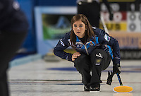 Glasgow. SCOTLAND.  Scotland &quot;Skip&quot;, Eve MUIRHEAD, , playing a &quot;Stone&quot;  during  the &quot;Round Robin&quot; Game.  Scotland vs Russia,  Le Gruy&egrave;re European Curling Championships. 2016 Venue, Braehead  Scotland<br /> Thursday  24/11/2016<br /> <br /> [Mandatory Credit; Peter Spurrier/Intersport-images]