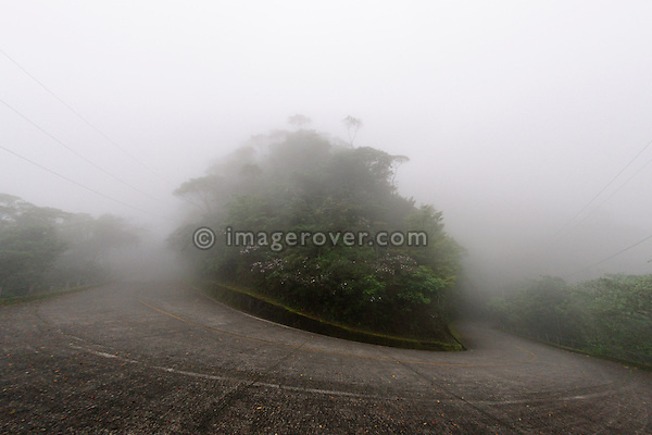 A typical foggy day on the old road Camino do Mar leading from Sao Paulo to Santos. Brazil, Sao Paulo, Santos.