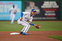 Dunedin Blue Jays second baseman Kevin Vicuna (3) waits for a throw during a Florida State League game against the Clearwater Threshers on April 4, 2019 at Spectrum Field in Clearwater, Florida.  Dunedin defeated Clearwater 11-1.  (Mike Janes/Four Seam Images)
