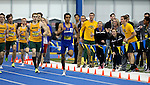 BROOKINGS, SD - FEBRUARY 25:  Fans cheer on Alejandro Sanchez from South Dakota State University to the finish line of the men's 800 meter run at the 2017 Summit League Indoor Track and Field Championship Saturday afternoon in Brookings, SD. (Photo by Dave Eggen/Inertia)
