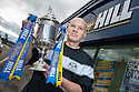 William Hill Scottish Cup Sunday Preview : East Stirlingshire v Threave Rovers.    <br /> <br /> Tony Ford, Chairman, East Stirlingshire, gets his hands on the Scottish Cup prior to Sunday's second round tie against Threave Rovers.