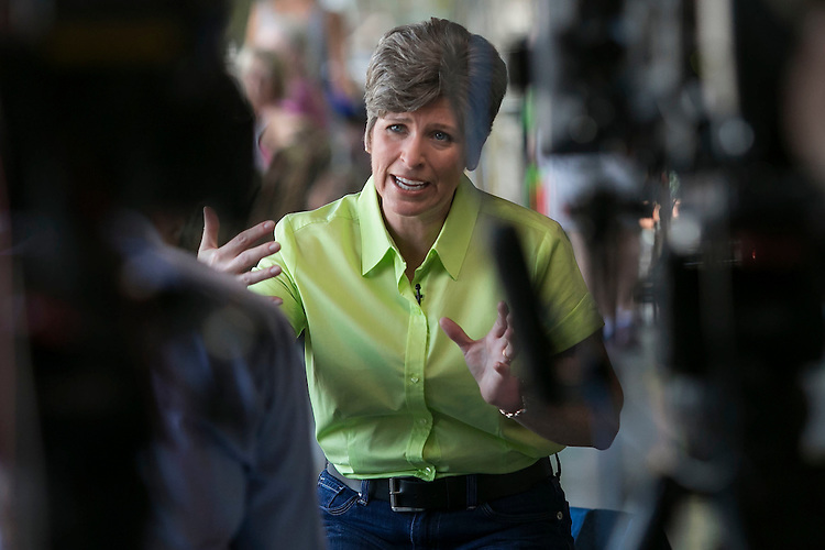 UNITED STATES - August 15: Sen. Joni Ernst, R-Iowa, speaks during an interview with Chuck Todd of NBC's Meet the Press at the Iowa State Fair in Des Moines, Iowa, on Saturday, August 15, 2015. (Photo By Al Drago/CQ Roll Call)