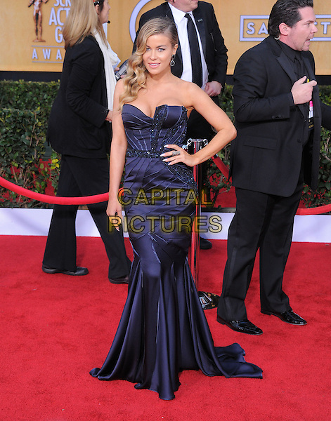 Carmen Electra.Arrivals at the 19th Annual Screen Actors Guild Awards at the Shrine Auditorium in Los Angeles, California, USA..27th January 2013.SAG SAGs full length dress  blue silk satin strapless hand on hip.CAP/DVS.©DVS/Capital Pictures.