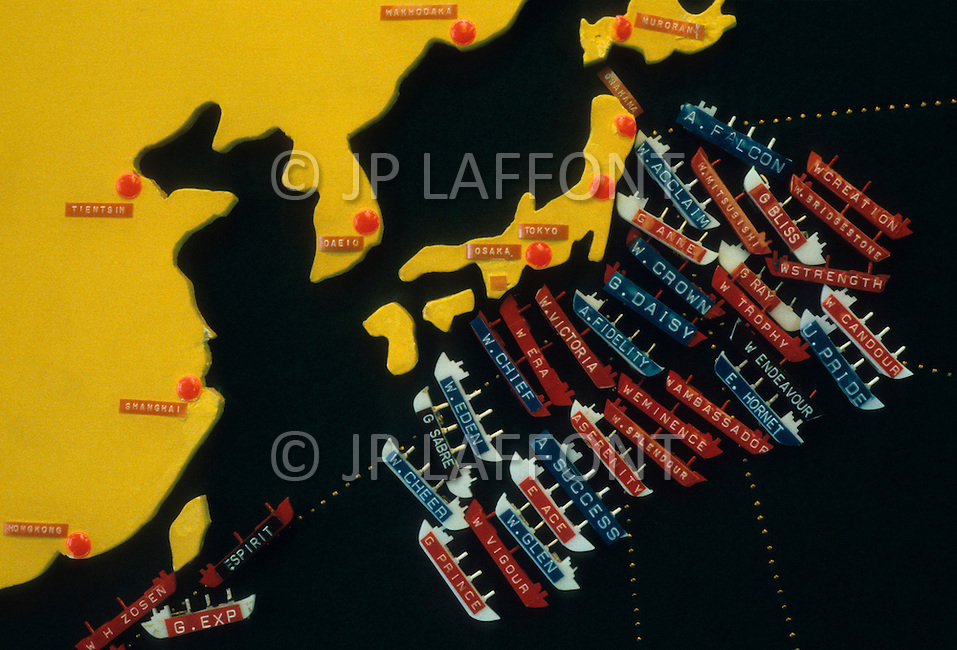 Hong Kong, China - September 25, 1981. Picture of the location of part of the fleet of Y.K. Pao, where over half of his fleet lies in Japanese waters. Y.K. Pao (November 10, 1918 - September 23, 1991) was founder of the World-Wide Shipping Group that by the mid 1970's had become the largest shipping company in the world.